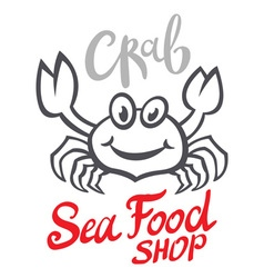 Crab silhouette Seafood shop logo branding vector image
