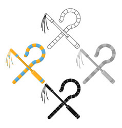 Crook and flail icon in cartoonblack style vector