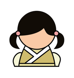Cute japanese doll icon vector
