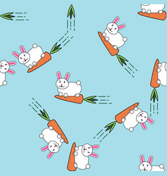 cute white easter bunny rabbit seamless pattern vector image