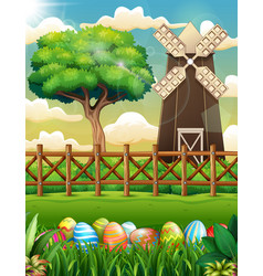 Decorated easter eggs on grass with a farm bac vector