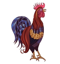 Decorative stylized hand-drawn rooster isolated on vector image
