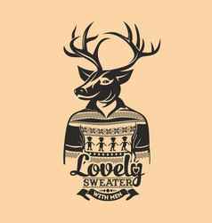 Deer lovely sweater with men vector