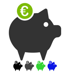 euro piggy bank flat icon vector image