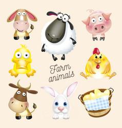 farm life cartoon fun farm animals set vector image