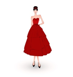 fashion girl in red evening dress vector image