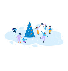 flat winter fun for kids and adults vector image