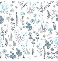 floral seamless pattern with wild herbs forest vector image