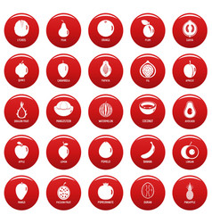 fruits icons set vetor red vector image