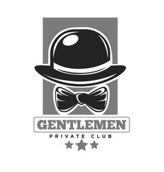 Gentlemen private club colorless logo label vector