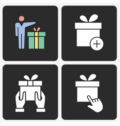 Gift box icon set on black background vector