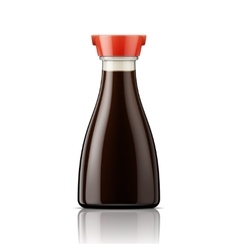 Glass soy sauce bottle with red cap vector