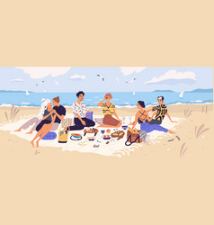 group happy friends at picnic on seashore vector image