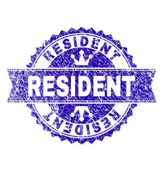 Grunge textured resident stamp seal with ribbon vector