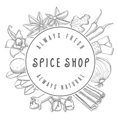 Hand drawn spice shop emblem vector