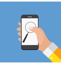 Hand with Abstract Phone and Search Icon Template vector