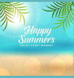 happy summer holidays beach background vector image