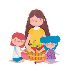 happy thanksgiving day woman and kids with basket vector image