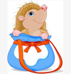 hedgehog in bag vector image