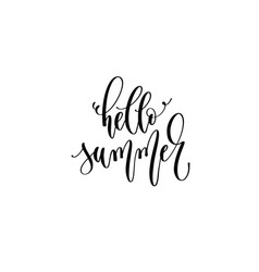 hello summer - hand lettering inscription text vector image