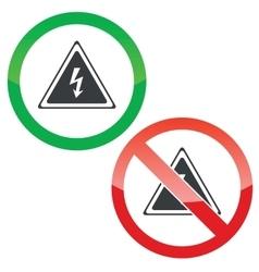 High voltage permission signs set vector