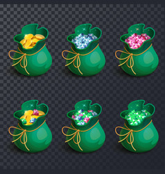 Isolated bags with gems and golden coins vector