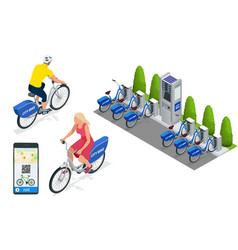 isometric row bicycles parked blue bicycles vector image