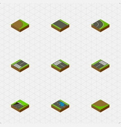 Isometric way set of rotation asphalt subway and vector