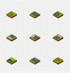 Isometric way set of rotation asphalt subway and vector