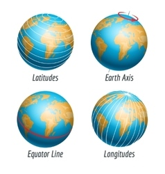 Latitude and longitude of earth globe vector image