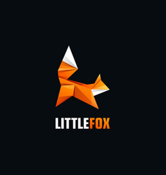 logo fox jump gradient colorful style vector image