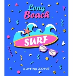 long beach - summer background in style 80s vector image