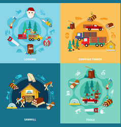Lumberjack square icon set vector