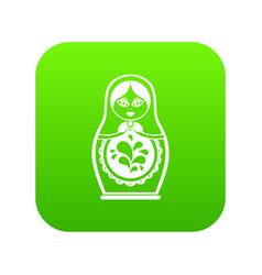 matryoshka icon digital green vector image