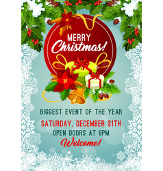 Merry christmas holiday party poster vector