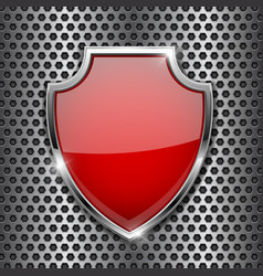 metal 3d red shield on metal perforated background vector image
