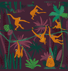 monkey in jungle seamless pattern vector image