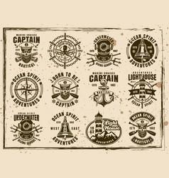 nautical set vintage grunge emblems vector image