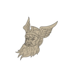 Norse God Odin Head Drawing vector