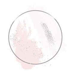 Nude rose pink brush strokes with silver glitter vector