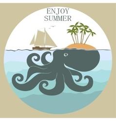Octopus island enloy summer vector image