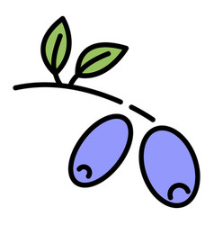 Olive branch icon color outline vector