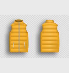 Orange winter puffer vest sleeveless jacket vector
