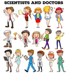 People working as scientists and doctors vector image