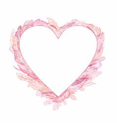 pink romantic boho tender heart frame vector image