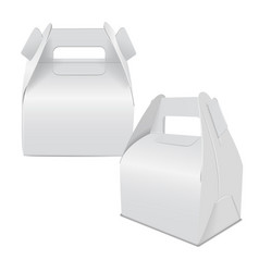 Realistic paper cake package set of white box vector