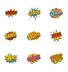 retro speech bubble icons set flat style vector image