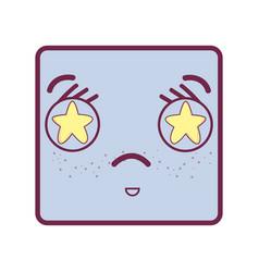 Sad face kawaii with stars inside the eyes vector