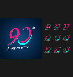 Set of anniversary logotype colorful anniversary vector