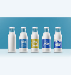 set of realistic transparent clear milk bottles vector image
